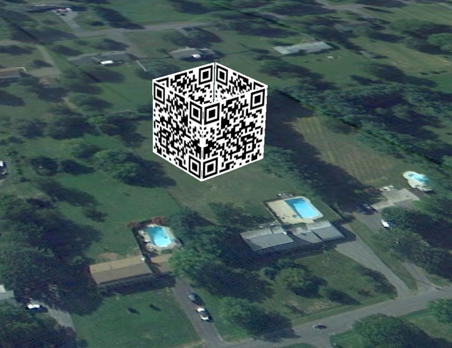 - Here, the QR cube is sitting on the lawn behind my house. -  - Art and the Zen of QR Codes - QaRt - making art from QR codes. - Tony Karp, design, art, photography, techno-impressionist, techno-impressionism, aerial photography , drone , drones , dji , mavic pro , video , 3D printing - Books -