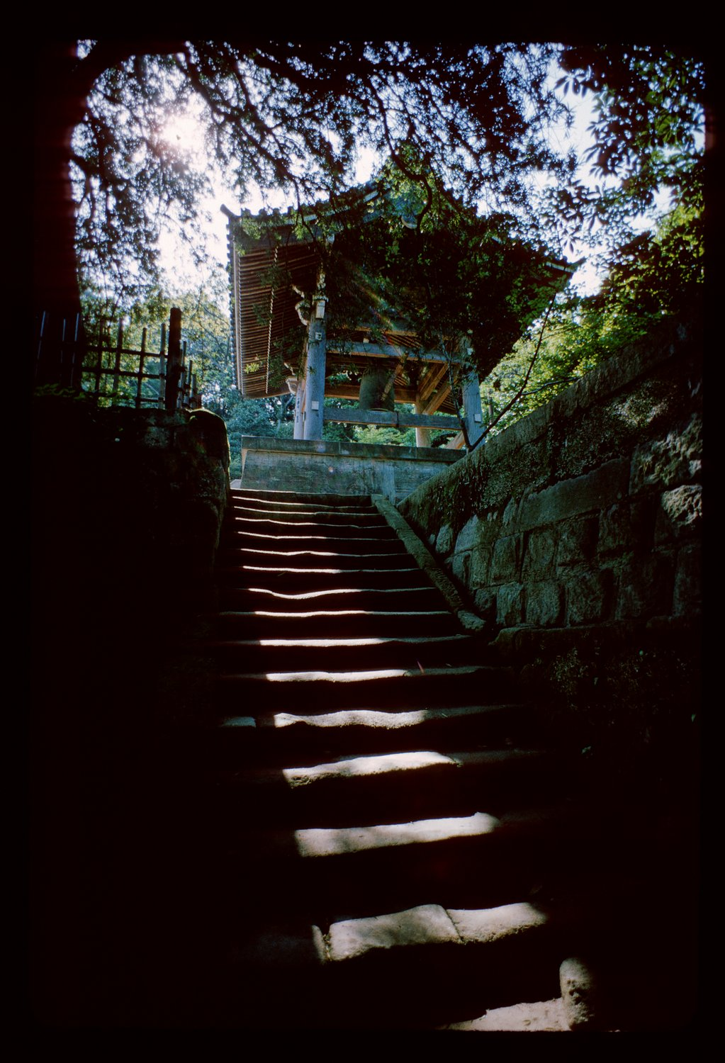 stairs leading up to bell tower - Kamakura, Japan - 1965 - Kodachrome - Tony Karp, design, art, photography, techno-impressionist, techno-impressionism, aerial photography , drone , drones , dji , mavic pro , video , 3D printing - Books -