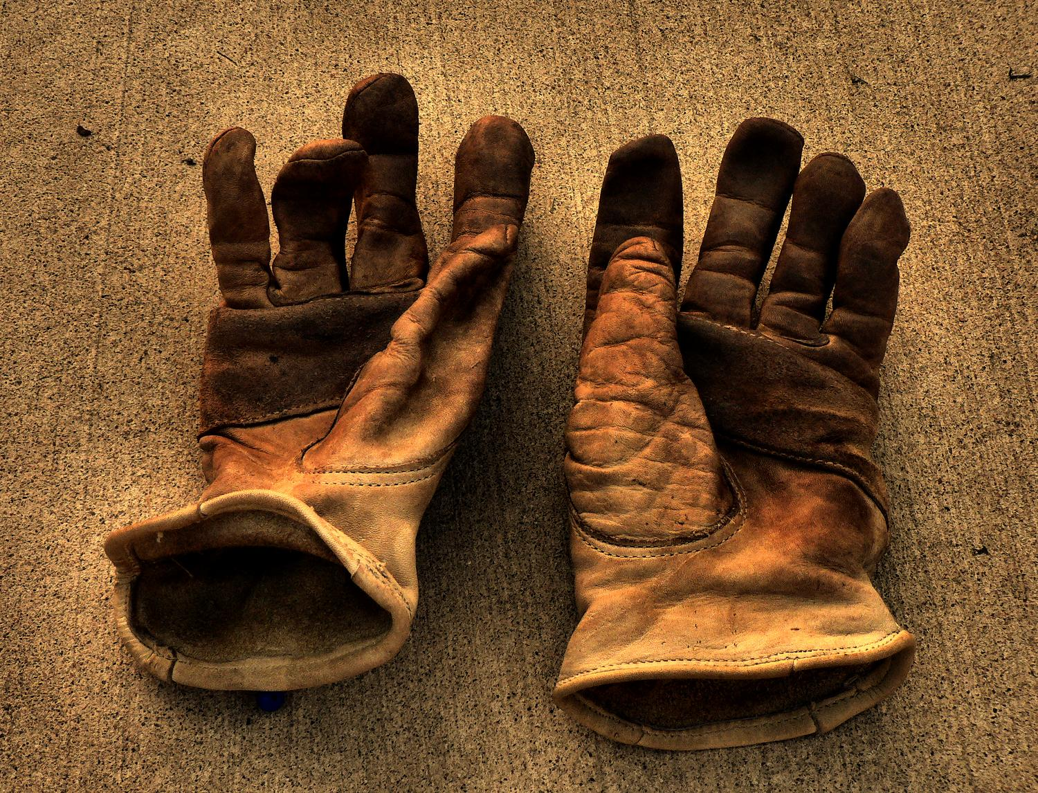 a pair of leather work gloves on cement - The Hobbitt's gloves - Tony Karp, design, art, photography, techno-impressionist, techno-impressionism, aerial photography , drone , drones , dji , mavic pro , video , 3D printing - Books -