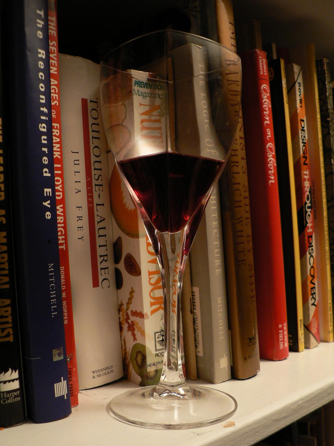 a glass of wine on a bookshelf in the library - In the library after the books arrived - Tony Karp, design, art, photography, techno-impressionist, techno-impressionism, aerial photography , drone , drones , dji , mavic pro , video , 3D printing - Books -