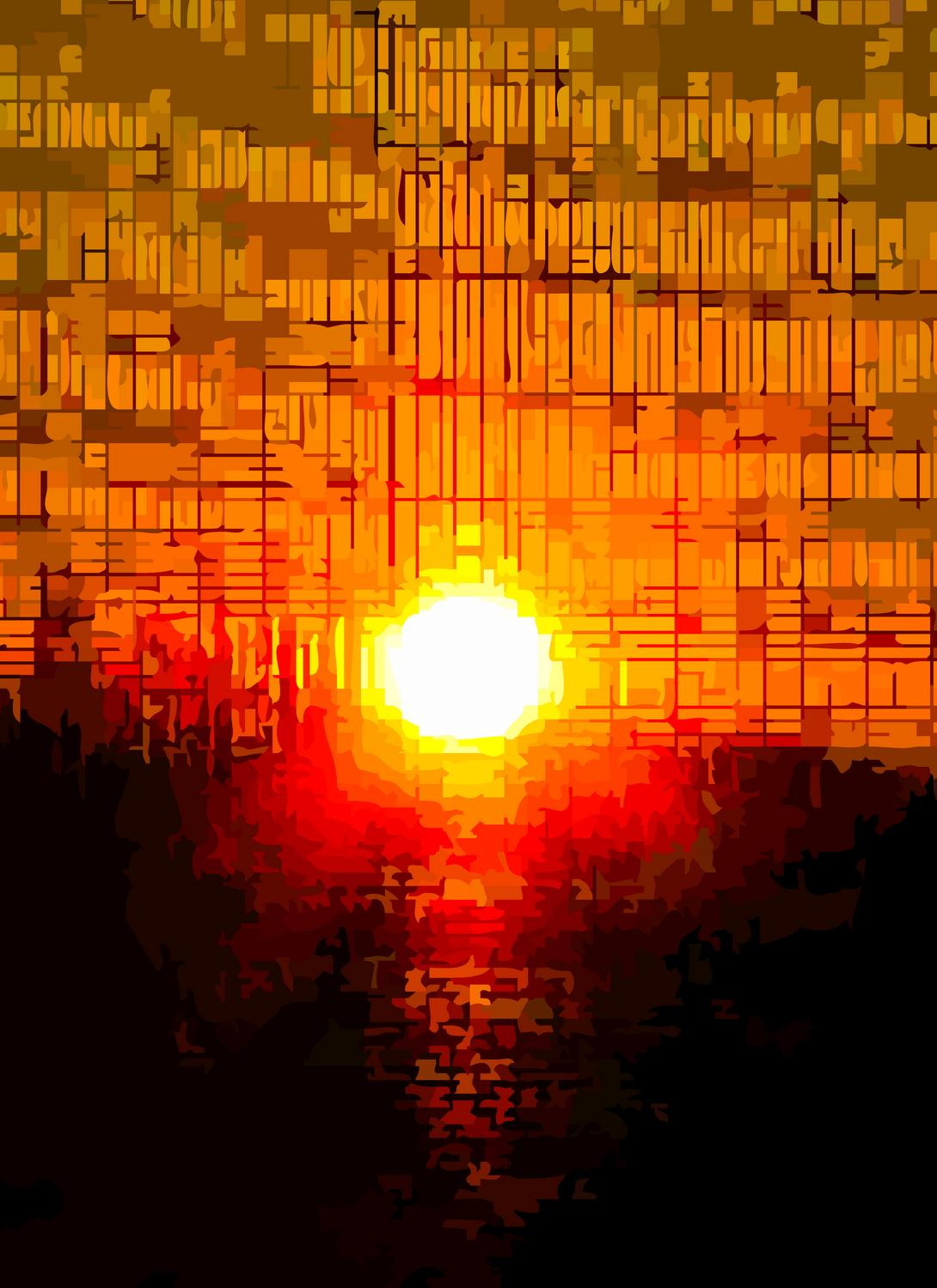 the sun coming through a screen - Detail of Sunset with rhythmic beats and waves - Panasonic DMC-FZ28 - Tony Karp, design, art, photography, techno-impressionist, techno-impressionism, aerial photography , drone , drones , dji , mavic pro , video , 3D printing - Books -