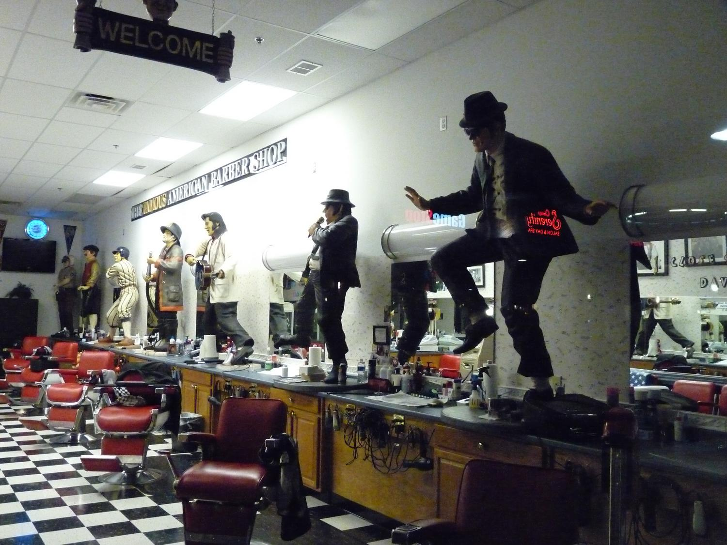 the Blues Brothers in a barber shop - At night, in the barber shop - Panasonic DMC-FZ28 - Tony Karp, design, art, photography, techno-impressionist, techno-impressionism, aerial photography , drone , drones , dji , mavic pro , video , 3D printing - Books -