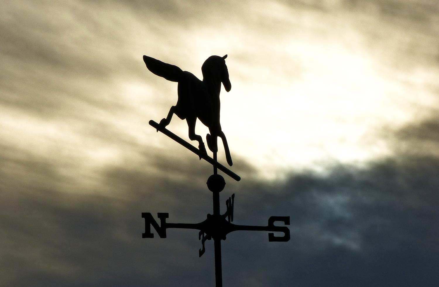 - The horse on this weathervane rides off into the sunrise <br>--- Click to see ORIGINAL --- - -  Panasonic DMC-FZ150 - post processing - Tony Karp, design, art, photography, techno-impressionist, techno-impressionism, aerial photography , drone , drones , dji , mavic pro , video , 3D printing - Books -