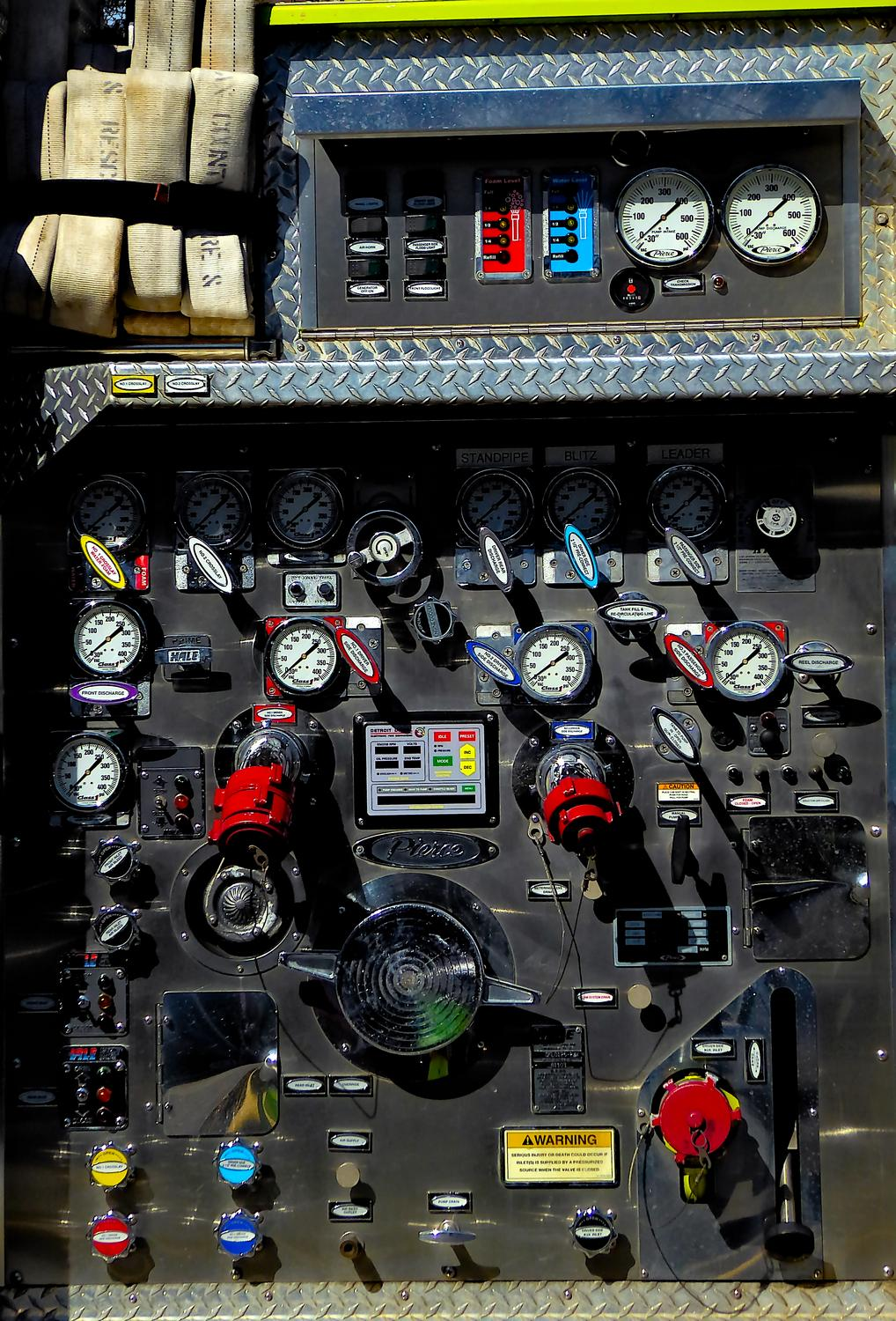 - Lots of valves and gauges on the side of this fire truck. - Panasonic DMC-ZS40, DMC-ZS50, DMC-LF1 - Tony Karp, design, art, photography, techno-impressionist, techno-impressionism, aerial photography , drone , drones , dji , mavic pro , video , 3D printing - Books -